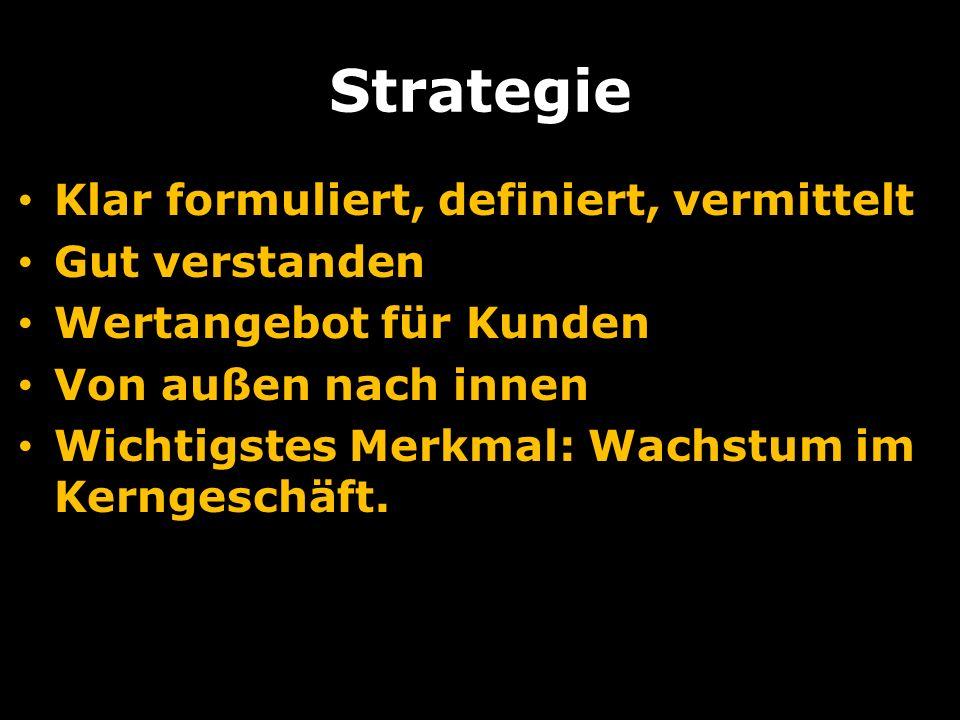 Strategie Klar formuliert, definiert, vermittelt Gut verstanden Wertangebot für Kunden Von außen nach innen Wichtigstes Merkmal: Wachstum im Kerngeschäft.