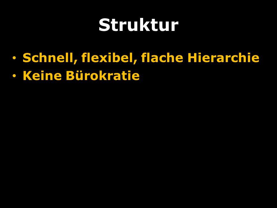 Struktur Schnell, flexibel, flache Hierarchie Keine Bürokratie