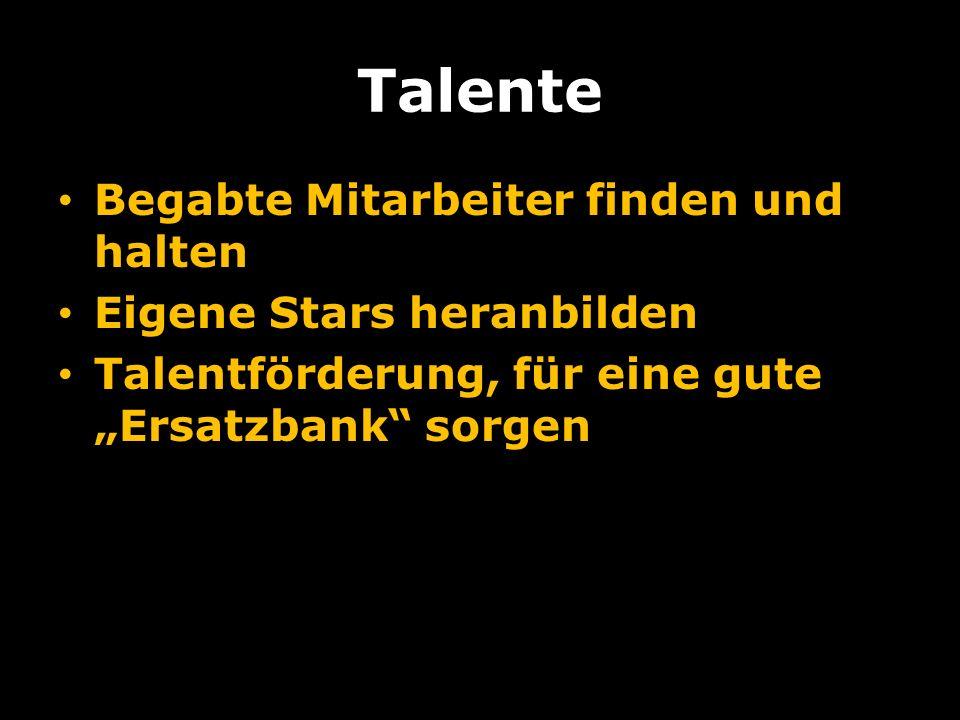 Talente Begabte Mitarbeiter finden und halten Eigene Stars heranbilden Talentförderung, für eine gute Ersatzbank sorgen