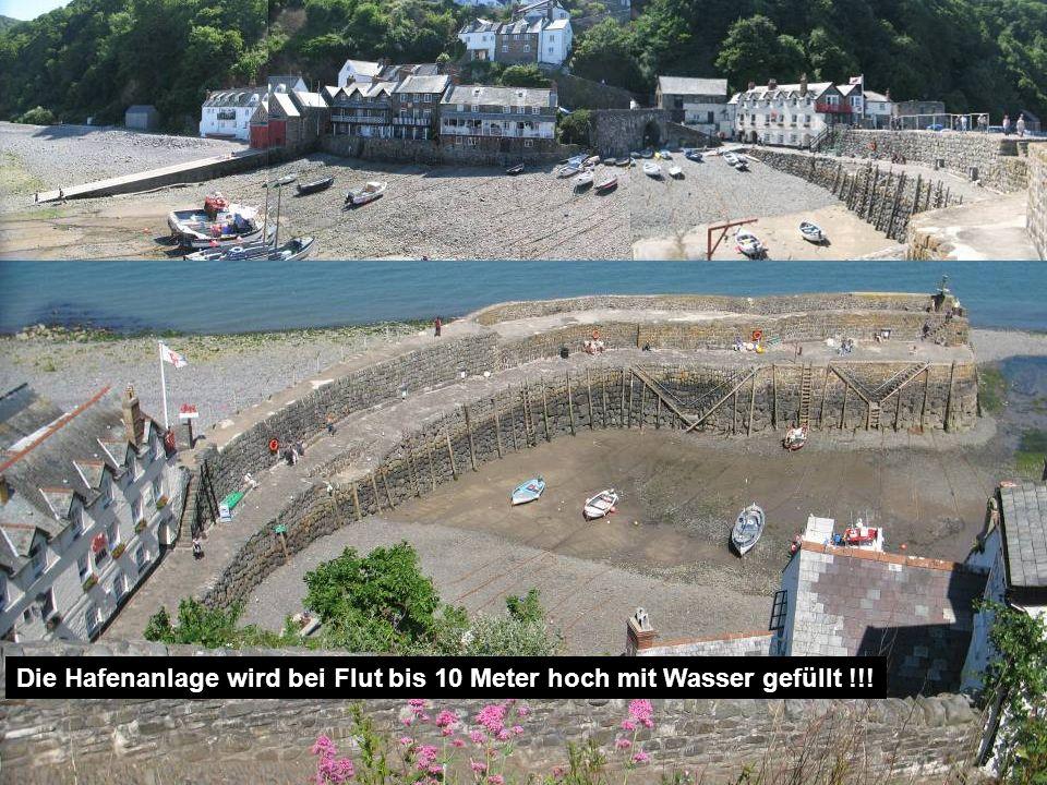 Die Hafenanlage wird bei Flut bis 10 Meter hoch mit Wasser gefüllt !!!
