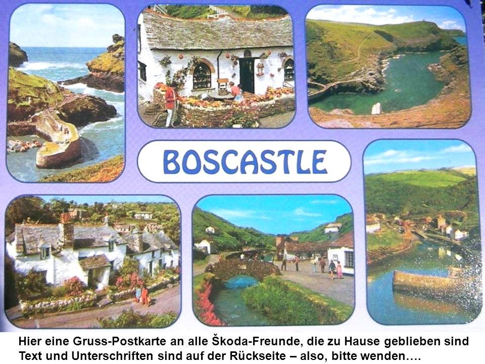 Hier eine Gruss-Postkarte an alle Škoda-Freunde, die zu Hause geblieben sind Text und Unterschriften sind auf der Rückseite – also, bitte wenden….