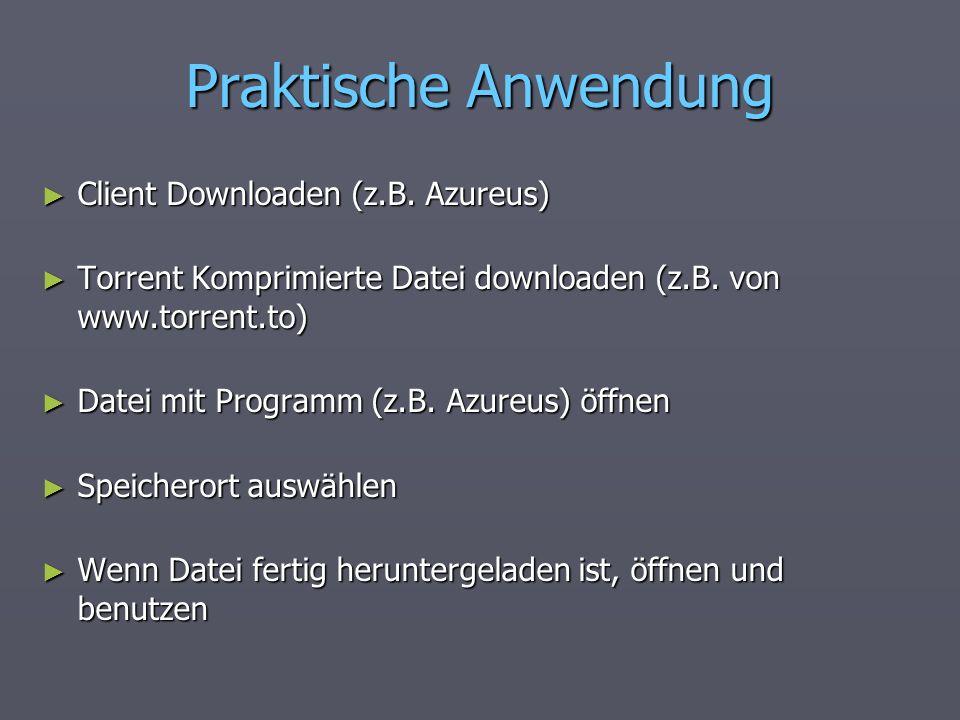 Praktische Anwendung Client Downloaden (z.B. Azureus) Client Downloaden (z.B. Azureus) Torrent Komprimierte Datei downloaden (z.B. von www.torrent.to)