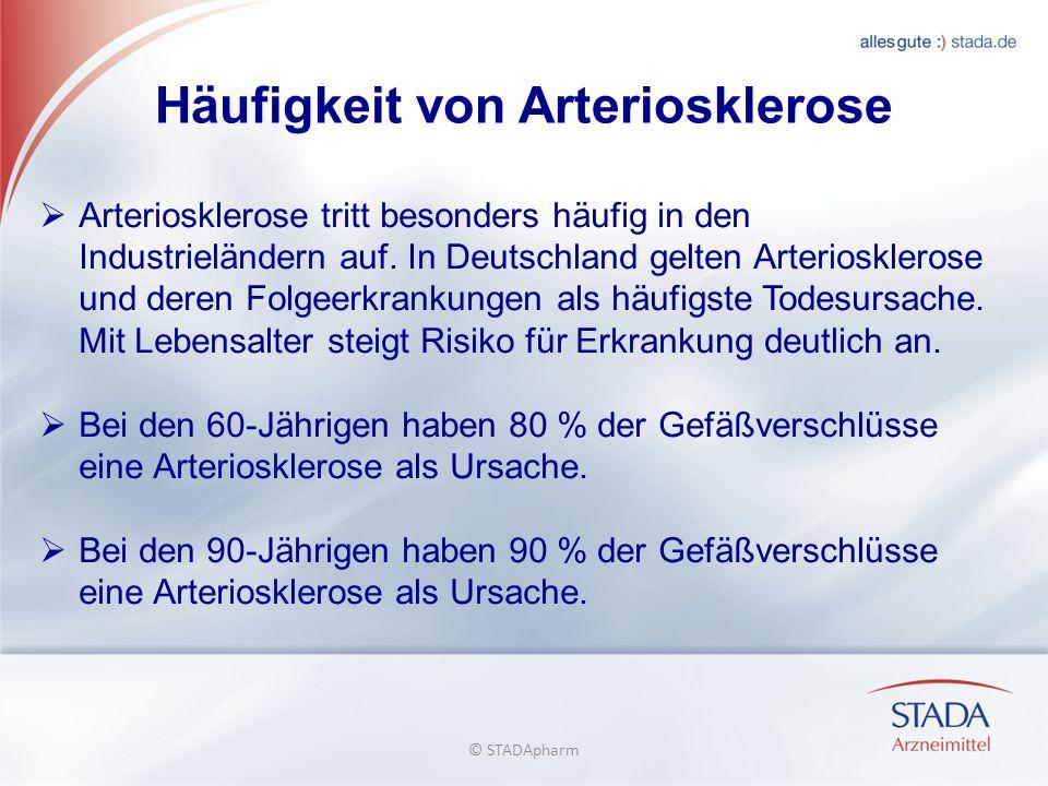 Häufigkeit von Arteriosklerose Arteriosklerose tritt besonders häufig in den Industrieländern auf. In Deutschland gelten Arteriosklerose und deren Fol