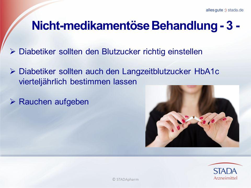 Nicht-medikamentöse Behandlung - 3 - Diabetiker sollten den Blutzucker richtig einstellen Diabetiker sollten auch den Langzeitblutzucker HbA1c viertel