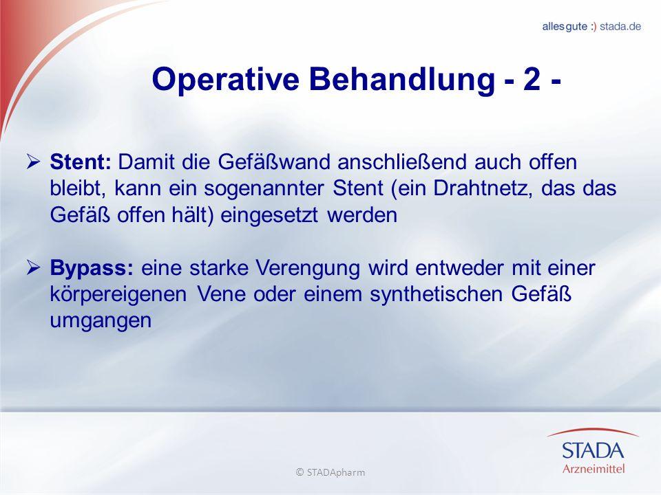 Operative Behandlung - 2 - Stent: Damit die Gefäßwand anschließend auch offen bleibt, kann ein sogenannter Stent (ein Drahtnetz, das das Gefäß offen h