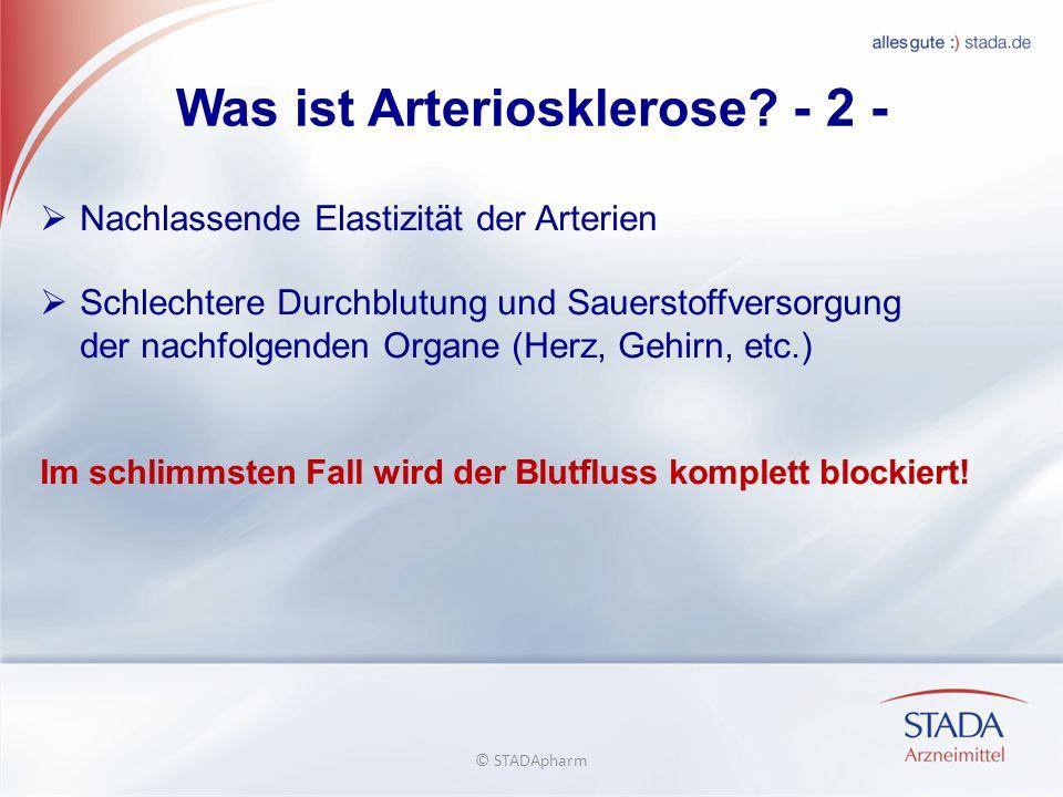 Was ist Arteriosklerose? - 2 - Nachlassende Elastizität der Arterien Schlechtere Durchblutung und Sauerstoffversorgung der nachfolgenden Organe (Herz,