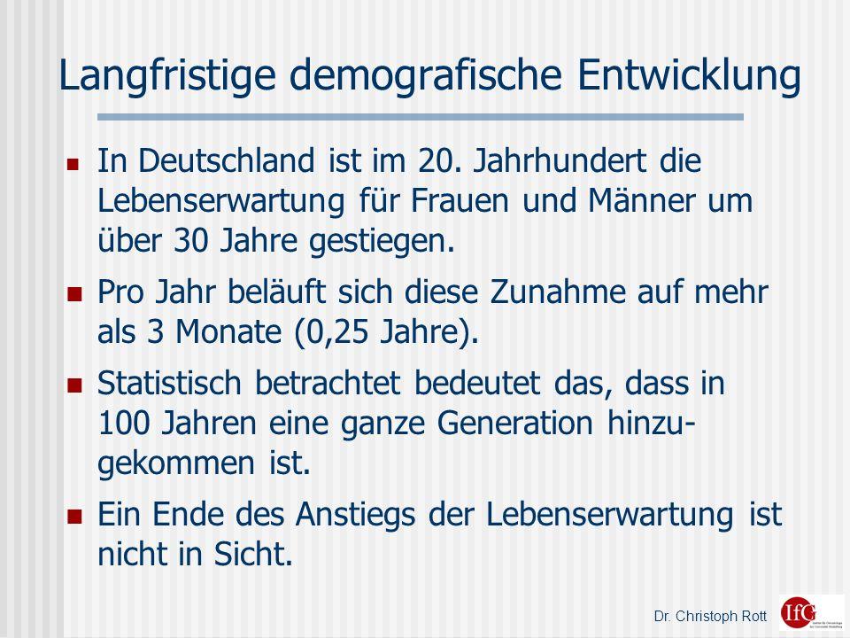 Dr.Christoph Rott Langfristige demografische Entwicklung In Deutschland ist im 20.