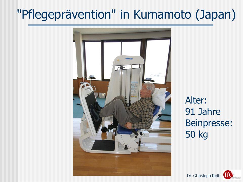 Dr. Christoph Rott Pflegeprävention in Kumamoto (Japan) Alter: 91 Jahre Beinpresse: 50 kg