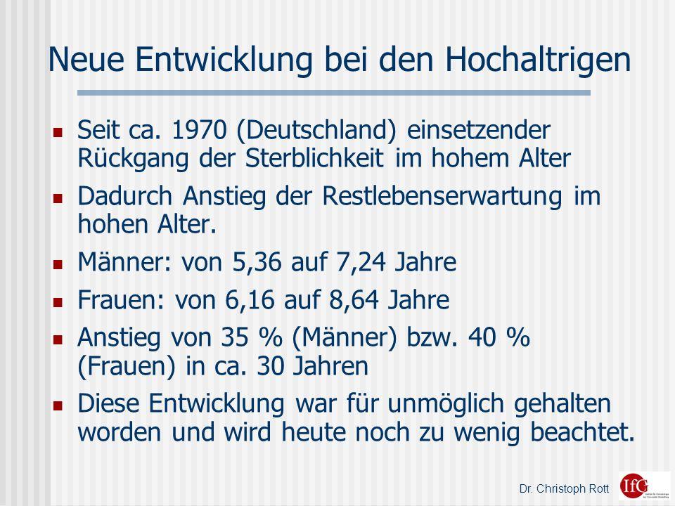 Dr.Christoph Rott Neue Entwicklung bei den Hochaltrigen Seit ca.