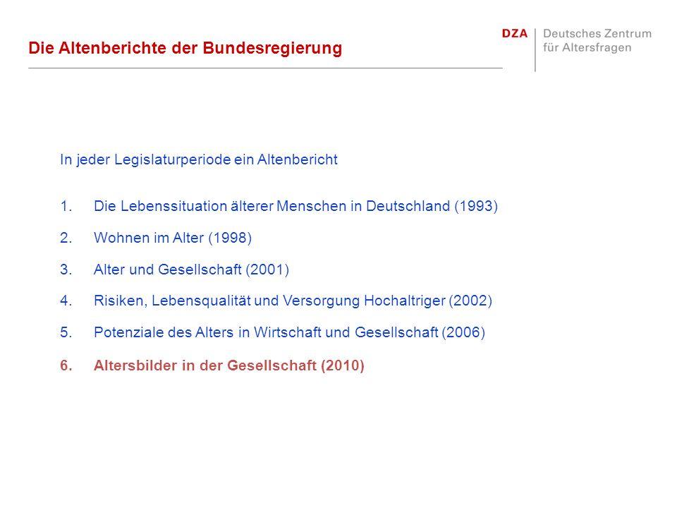 Die Altenberichte der Bundesregierung In jeder Legislaturperiode ein Altenbericht 1.Die Lebenssituation älterer Menschen in Deutschland (1993) 2.Wohne