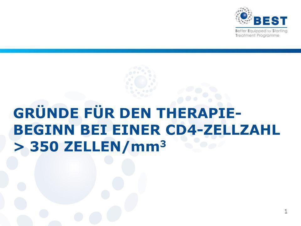 1 GRÜNDE FÜR DEN THERAPIE- BEGINN BEI EINER CD4-ZELLZAHL > 350 ZELLEN/mm 3