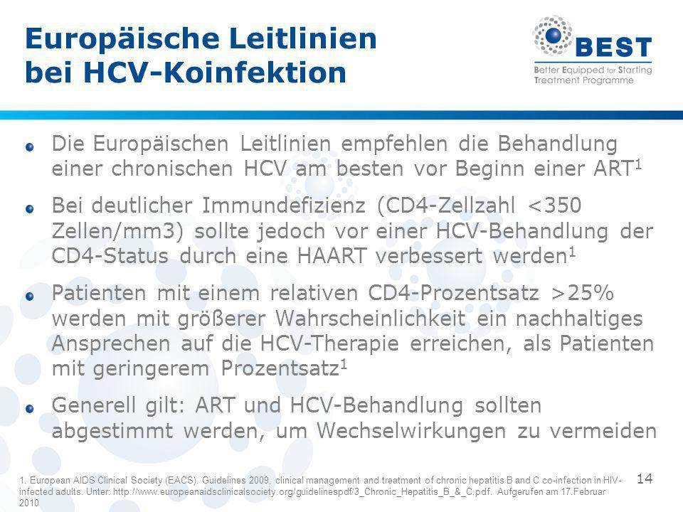 Die Europäischen Leitlinien empfehlen die Behandlung einer chronischen HCV am besten vor Beginn einer ART 1 Bei deutlicher Immundefizienz (CD4-Zellzah