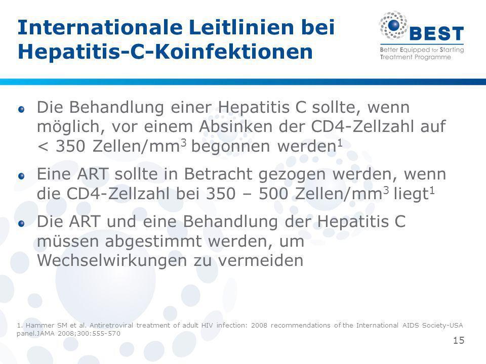 Die Behandlung einer Hepatitis C sollte, wenn möglich, vor einem Absinken der CD4-Zellzahl auf < 350 Zellen/mm 3 begonnen werden 1 Eine ART sollte in