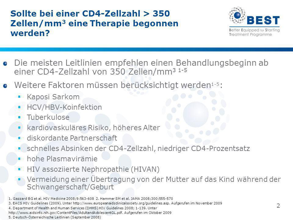 Sollte bei einer CD4-Zellzahl > 350 Zellen/mm 3 eine Therapie begonnen werden? 1. Gazzard BG et al. HIV Medicine 2008;9:563-608 2. Hammer SM et al. JA