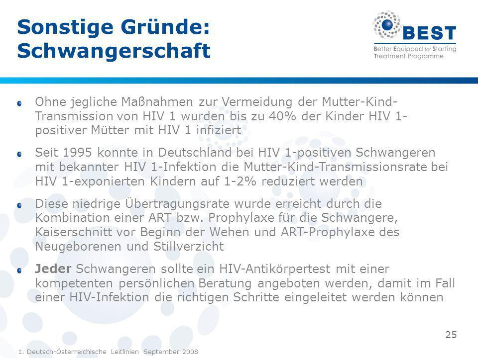 Sonstige Gründe: Schwangerschaft Ohne jegliche Maßnahmen zur Vermeidung der Mutter-Kind- Transmission von HIV 1 wurden bis zu 40% der Kinder HIV 1- po