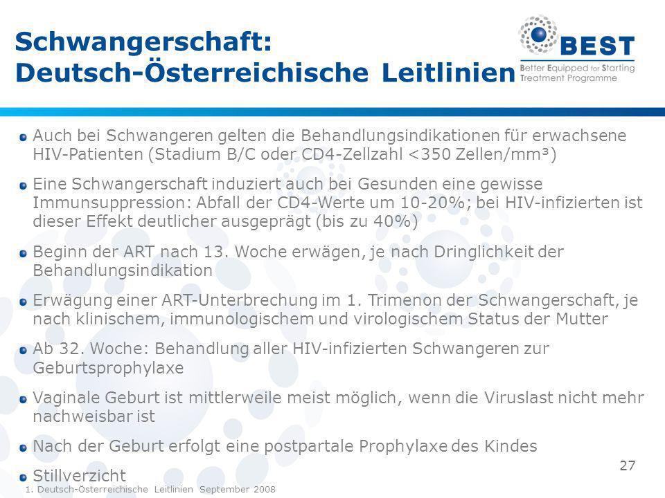 Schwangerschaft: Deutsch-Österreichische Leitlinien 1. Deutsch-Österreichische Leitlinien September 2008 Auch bei Schwangeren gelten die Behandlungsin