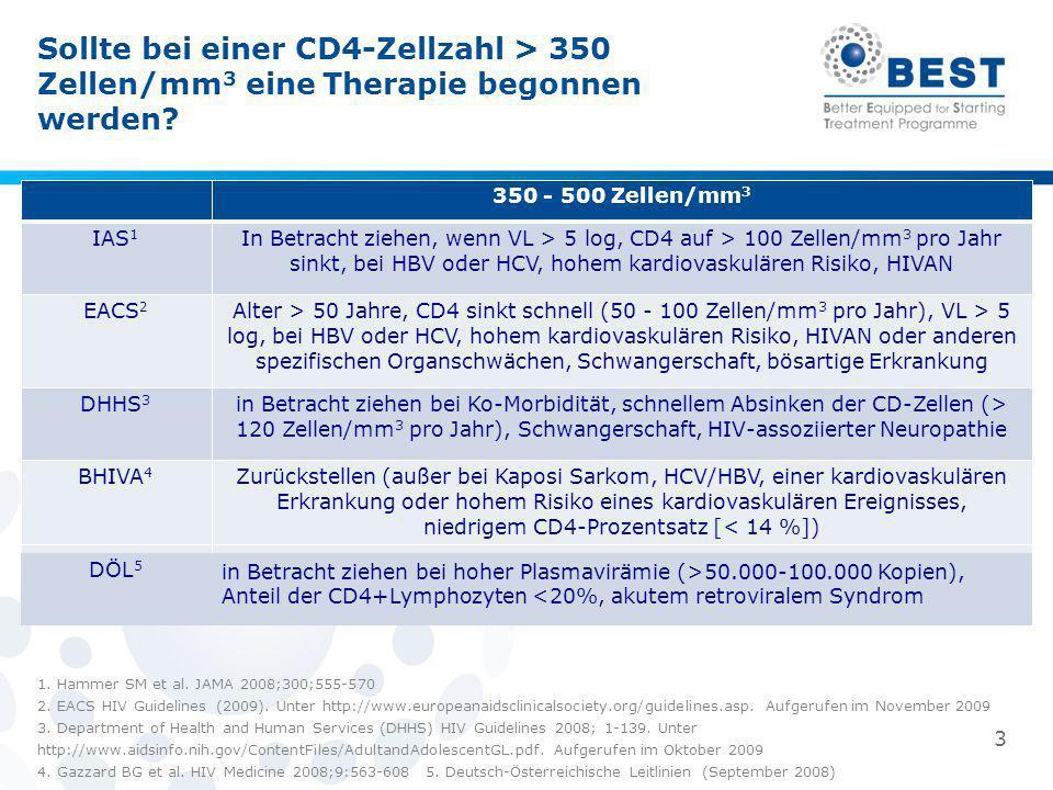 Sollte bei einer CD4-Zellzahl > 350 Zellen/mm 3 eine Therapie begonnen werden? 1. Hammer SM et al. JAMA 2008;300;555-570 2. EACS HIV Guidelines (2009)