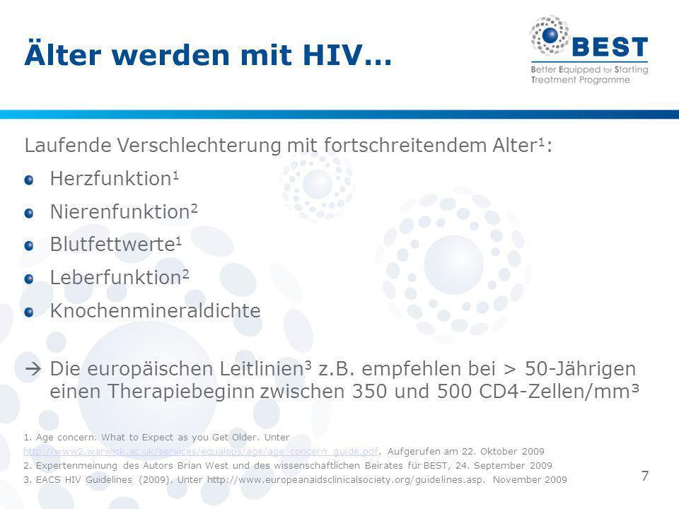 Älter werden mit HIV… Laufende Verschlechterung mit fortschreitendem Alter 1 : Herzfunktion 1 Nierenfunktion 2 Blutfettwerte 1 Leberfunktion 2 Knochen