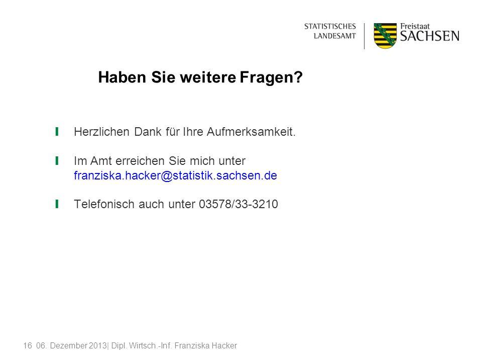 1606. Dezember 2013| Dipl. Wirtsch.-Inf. Franziska Hacker Haben Sie weitere Fragen? Herzlichen Dank für Ihre Aufmerksamkeit. Im Amt erreichen Sie mich