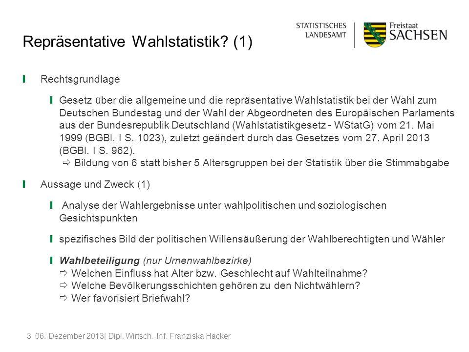 406.Dezember 2013| Dipl. Wirtsch.-Inf. Franziska Hacker Repräsentative Wahlstatistik.