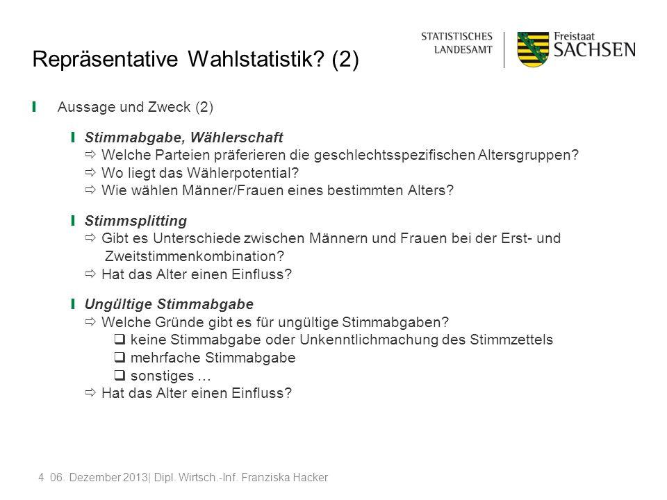 406. Dezember 2013| Dipl. Wirtsch.-Inf. Franziska Hacker Repräsentative Wahlstatistik? (2) Aussage und Zweck (2) Stimmabgabe, Wählerschaft Welche Part