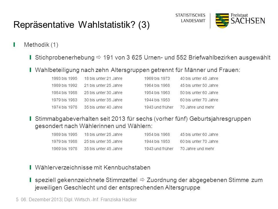 506. Dezember 2013| Dipl. Wirtsch.-Inf. Franziska Hacker Repräsentative Wahlstatistik? (3) Methodik (1) Stichprobenerhebung 191 von 3 625 Urnen- und 5