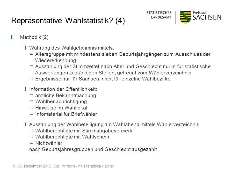 606. Dezember 2013| Dipl. Wirtsch.-Inf. Franziska Hacker Repräsentative Wahlstatistik? (4) Methodik (2) Wahrung des Wahlgeheimnis mittels: Altersgrupp