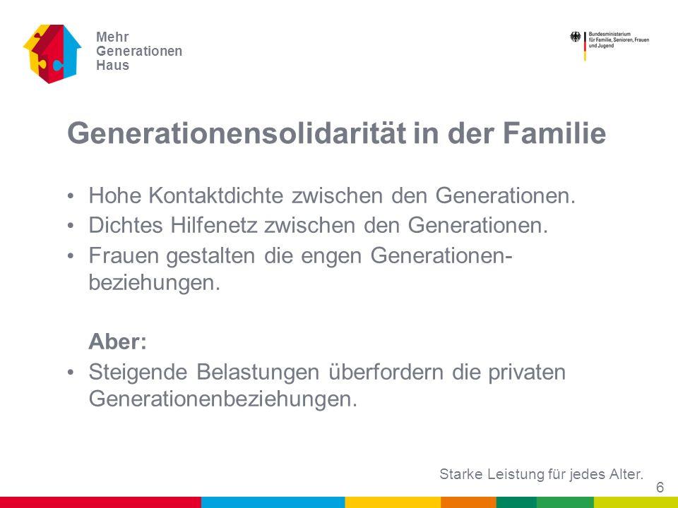 Starke Leistung für jedes Alter. Mehr Generationen Haus Generationensolidarität in der Familie Hohe Kontaktdichte zwischen den Generationen. Dichtes H