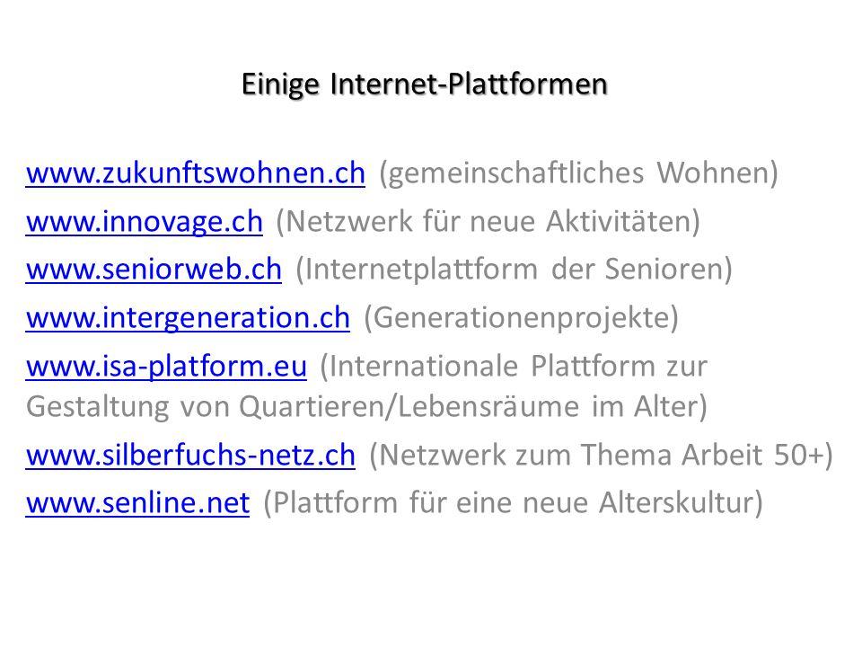 Einige Internet-Plattformen www.zukunftswohnen.chwww.zukunftswohnen.ch (gemeinschaftliches Wohnen) www.innovage.chwww.innovage.ch (Netzwerk für neue A