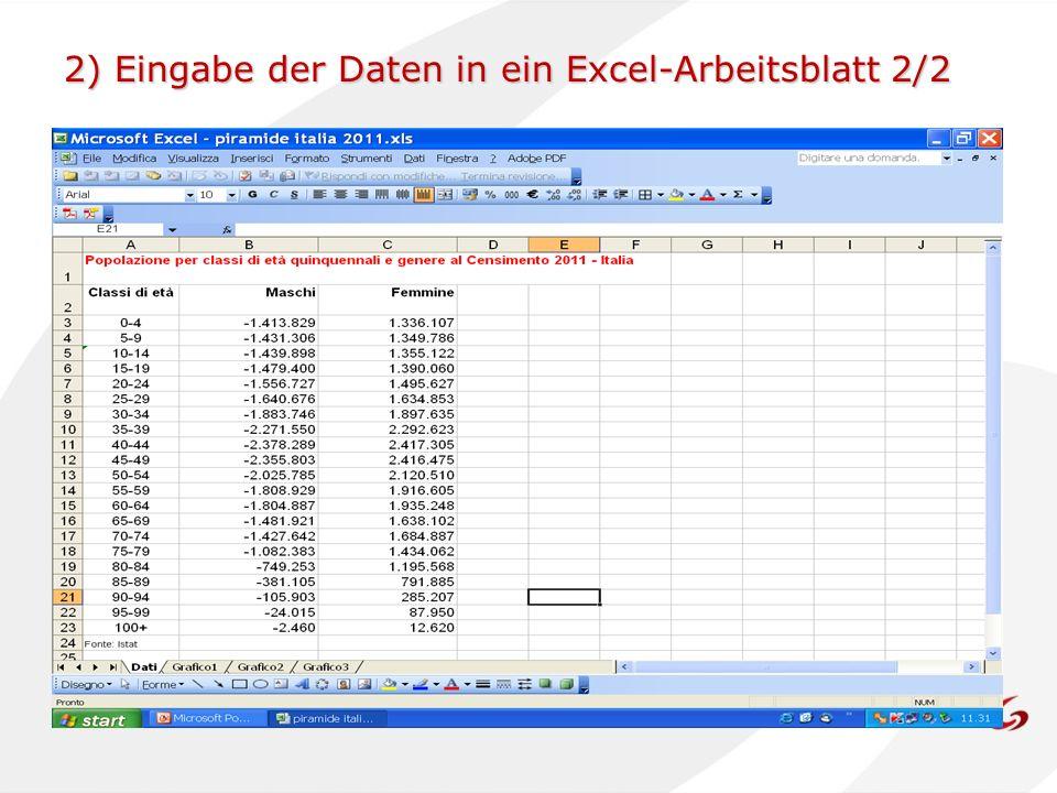 2) Eingabe der Daten in ein Excel-Arbeitsblatt 2/2