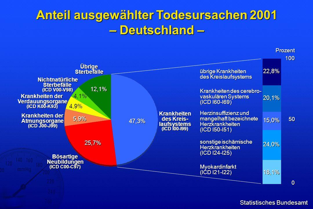 Statistisches Bundesamt Anteil ausgewählter Todesursachen 2001 – Deutschland – Bösartige Neubildungen (ICD C00-C97) 25,7% 5,9% 4,9% 4,1% 12,1% 47,3% K