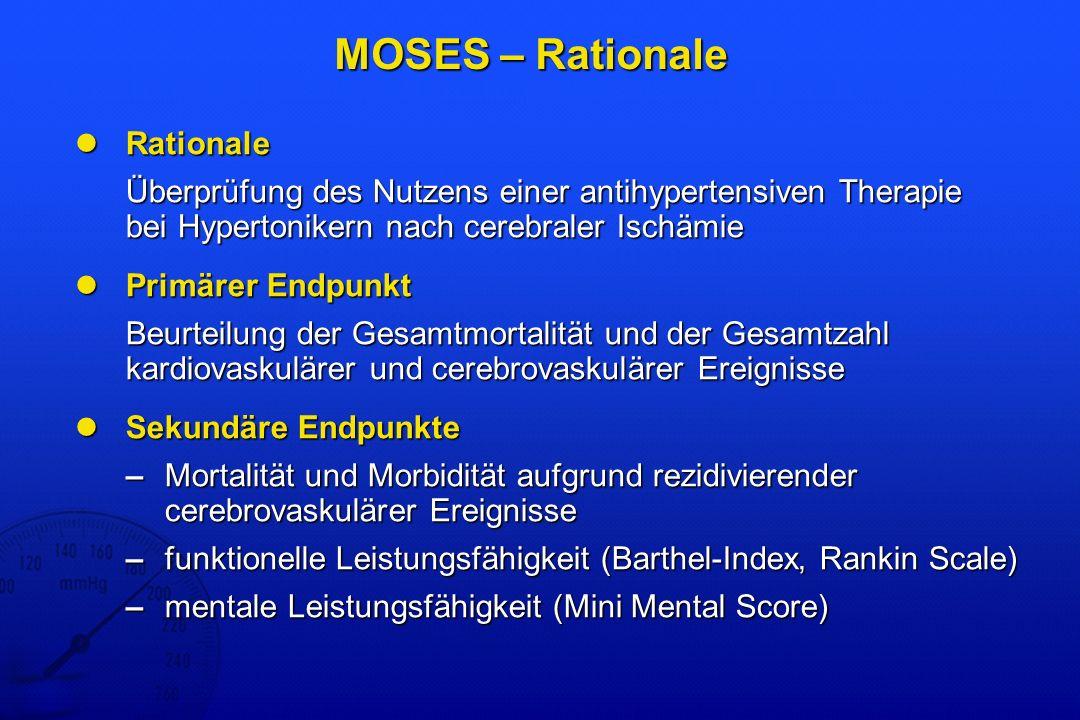 MOSES – Rationale Rationale Rationale Überprüfung des Nutzens einer antihypertensiven Therapie bei Hypertonikern nach cerebraler Ischämie Überprüfung