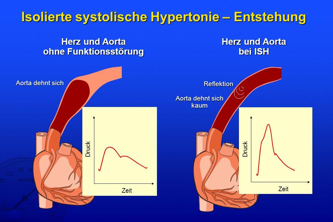 Isolierte systolische Hypertonie – Entstehung Herz und Aorta ohne Funktionsstörung Herz und Aorta bei ISH Aorta dehnt sich kaum Reflektion Aorta dehnt