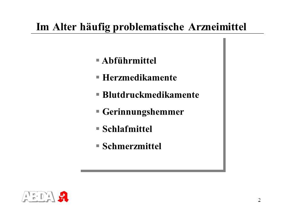 2 Im Alter häufig problematische Arzneimittel Abführmittel Herzmedikamente Blutdruckmedikamente Gerinnungshemmer Schlafmittel Schmerzmittel Abführmitt