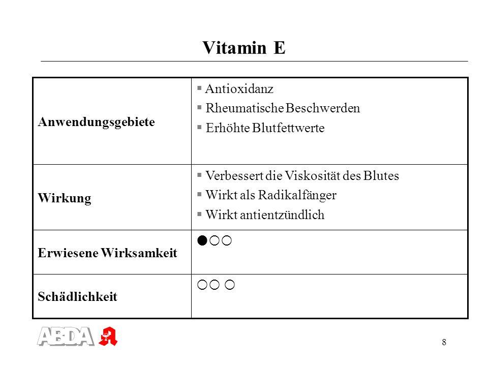 8 Vitamin E Schädlichkeit Erwiesene Wirksamkeit Verbessert die Viskosität des Blutes Wirkt als Radikalfänger Wirkt antientzündlich Wirkung Antioxidanz