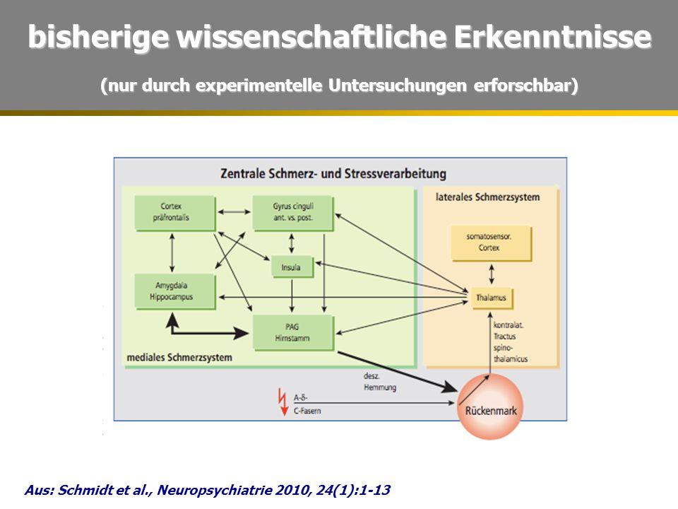 bisherige wissenschaftliche Erkenntnisse (nur durch experimentelle Untersuchungen erforschbar) Aus: Schmidt et al., Neuropsychiatrie 2010, 24(1):1-13