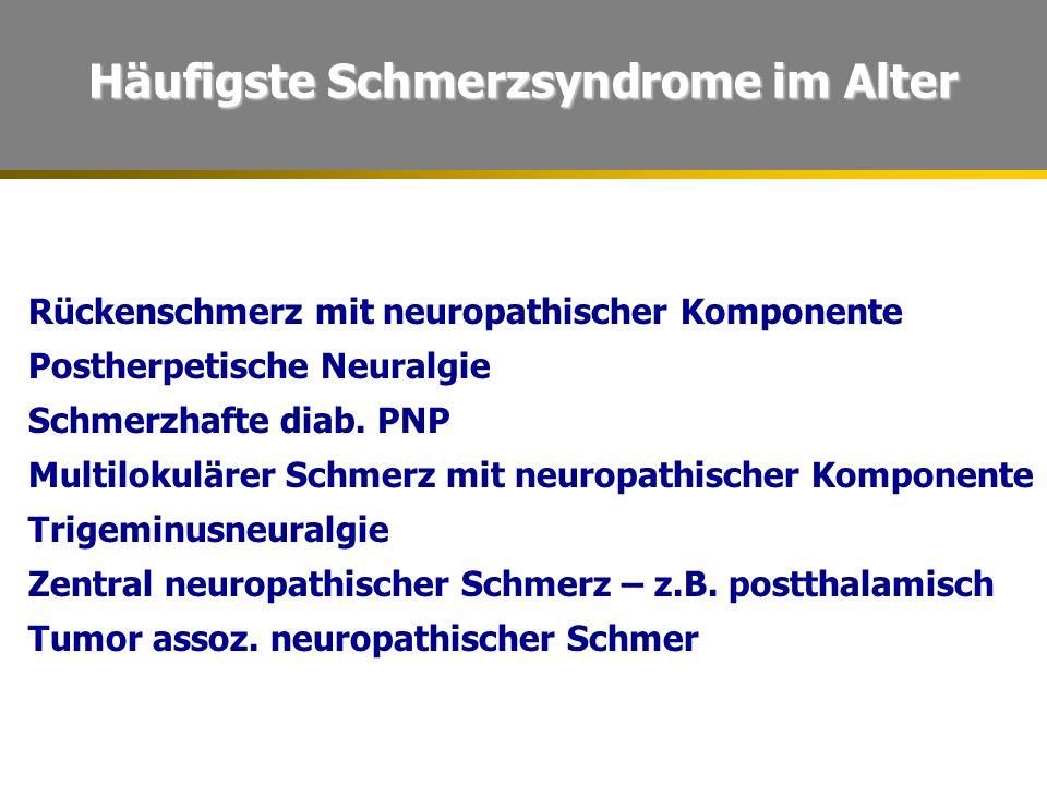 Häufigste Schmerzsyndrome im Alter Rückenschmerz mit neuropathischer Komponente Postherpetische Neuralgie Schmerzhafte diab. PNP Multilokulärer Schmer