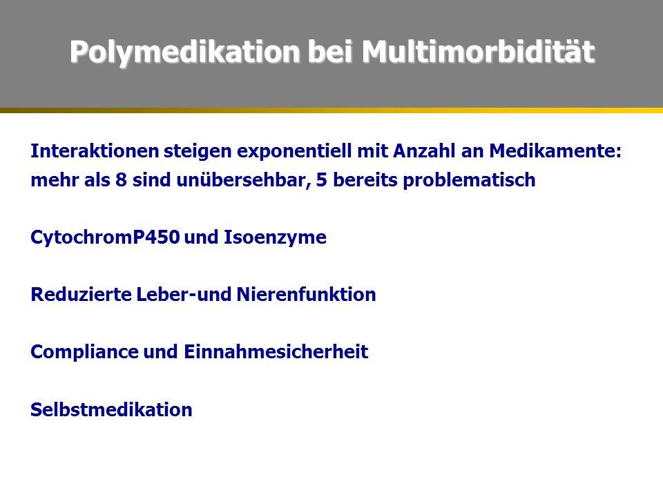 Polymedikation bei Multimorbidität Interaktionen steigen exponentiell mit Anzahl an Medikamente: mehr als 8 sind unübersehbar, 5 bereits problematisch CytochromP450 und Isoenzyme Reduzierte Leber-und Nierenfunktion Compliance und Einnahmesicherheit Selbstmedikation