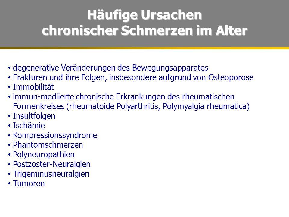 Häufige Ursachen chronischer Schmerzen im Alter degenerative Veränderungen des Bewegungsapparates Frakturen und ihre Folgen, insbesondere aufgrund von Osteoporose Immobilität immun-mediierte chronische Erkrankungen des rheumatischen Formenkreises (rheumatoide Polyarthritis, Polymyalgia rheumatica) Insultfolgen Ischämie Kompressionssyndrome Phantomschmerzen Polyneuropathien Postzoster-Neuralgien Trigeminusneuralgien Tumoren