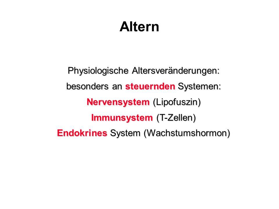 Altern Physiologische Altersveränderungen: besonders an steuernden Systemen: Nervensystem (Lipofuszin) Immunsystem (T-Zellen) Endokrines System (Wachs