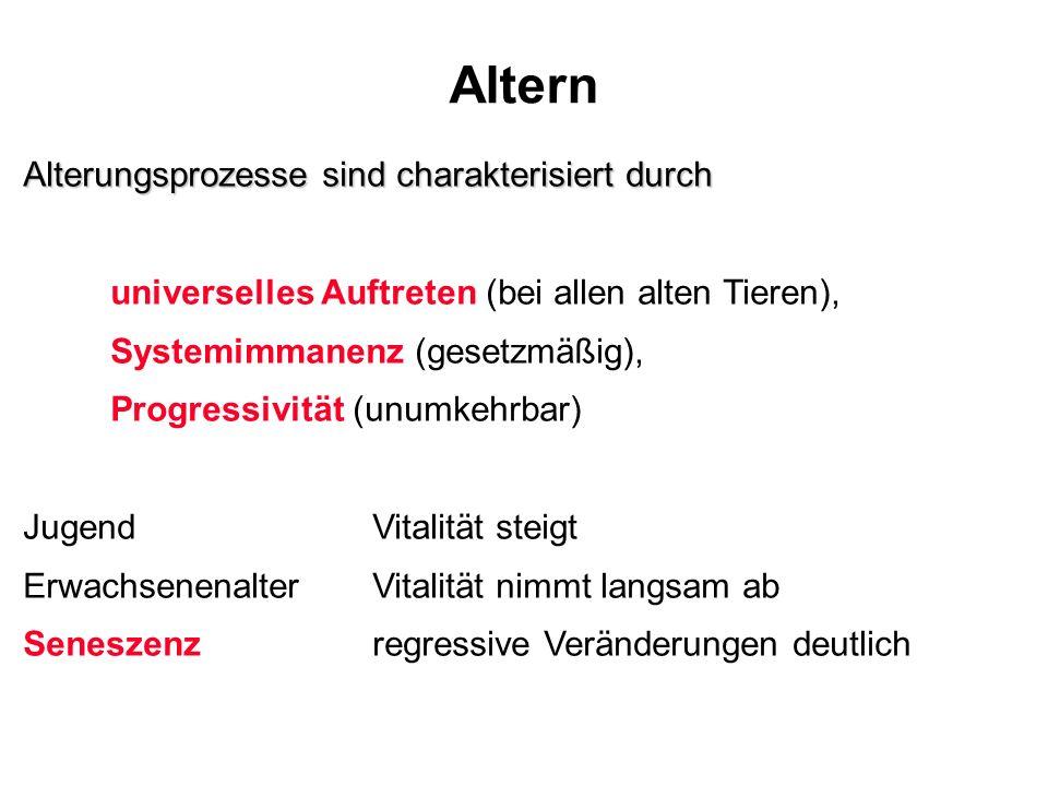 Altern Alterungsprozesse sind charakterisiert durch universelles Auftreten (bei allen alten Tieren), Systemimmanenz (gesetzmäßig), Progressivität (unu