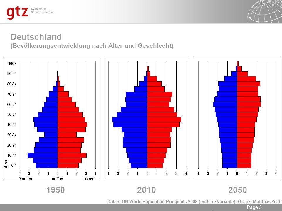 17.05.2014 Seite 3 Page 3. Deutschland (Bevölkerungsentwicklung nach Alter und Geschlecht) 195020102050 Daten: UN World Population Prospects 2008 (mit