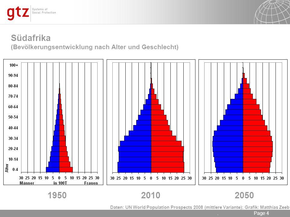 17.05.2014 Seite 4 Page 4. Südafrika (Bevölkerungsentwicklung nach Alter und Geschlecht) 195020102050 Daten: UN World Population Prospects 2008 (mittl