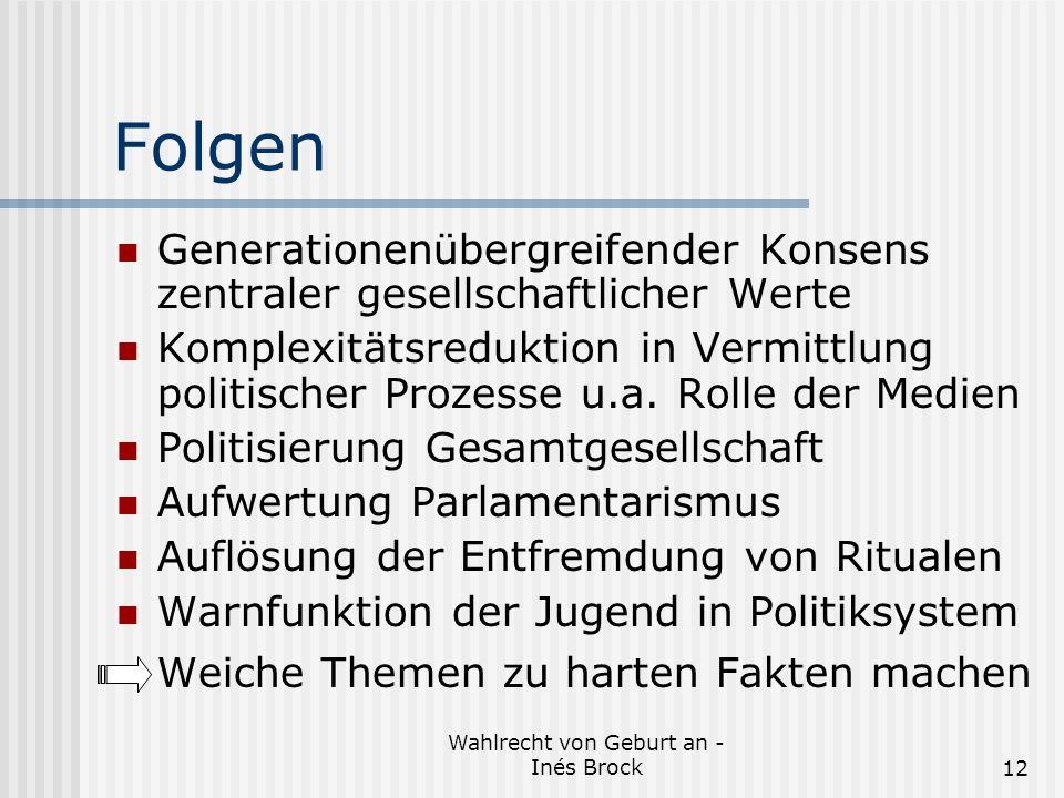 Wahlrecht von Geburt an - Inés Brock12 Folgen Generationenübergreifender Konsens zentraler gesellschaftlicher Werte Komplexitätsreduktion in Vermittlung politischer Prozesse u.a.