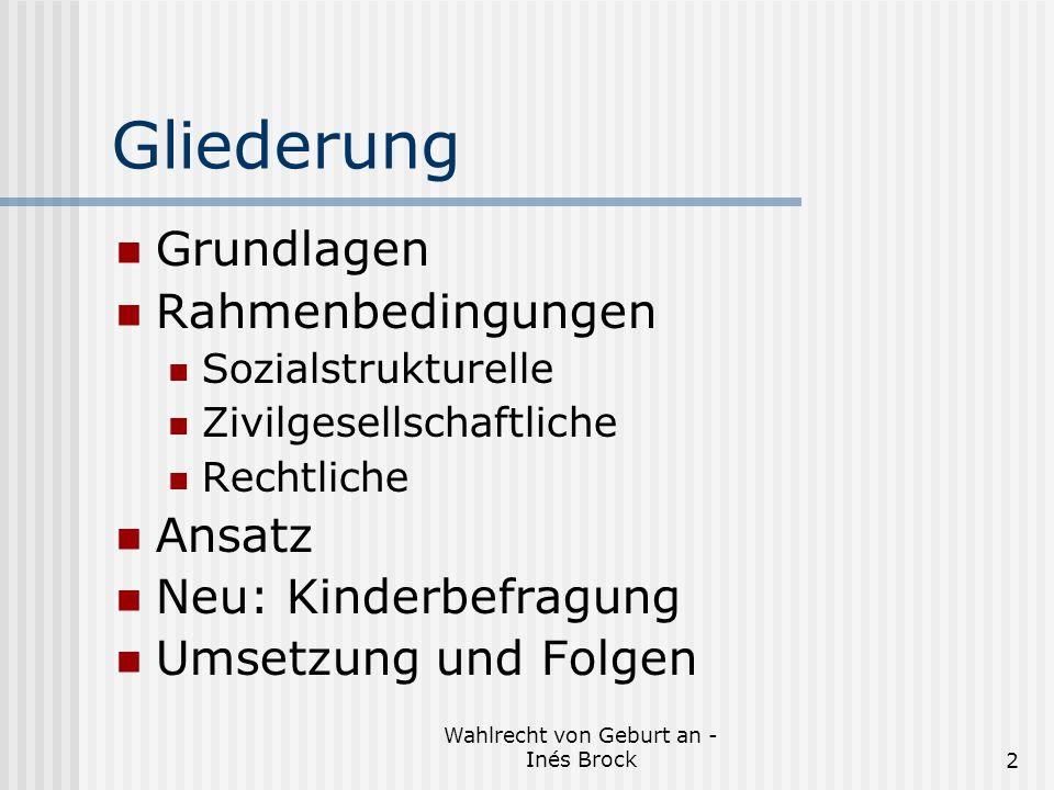 Wahlrecht von Geburt an - Inés Brock2 Gliederung Grundlagen Rahmenbedingungen Sozialstrukturelle Zivilgesellschaftliche Rechtliche Ansatz Neu: Kinderbefragung Umsetzung und Folgen