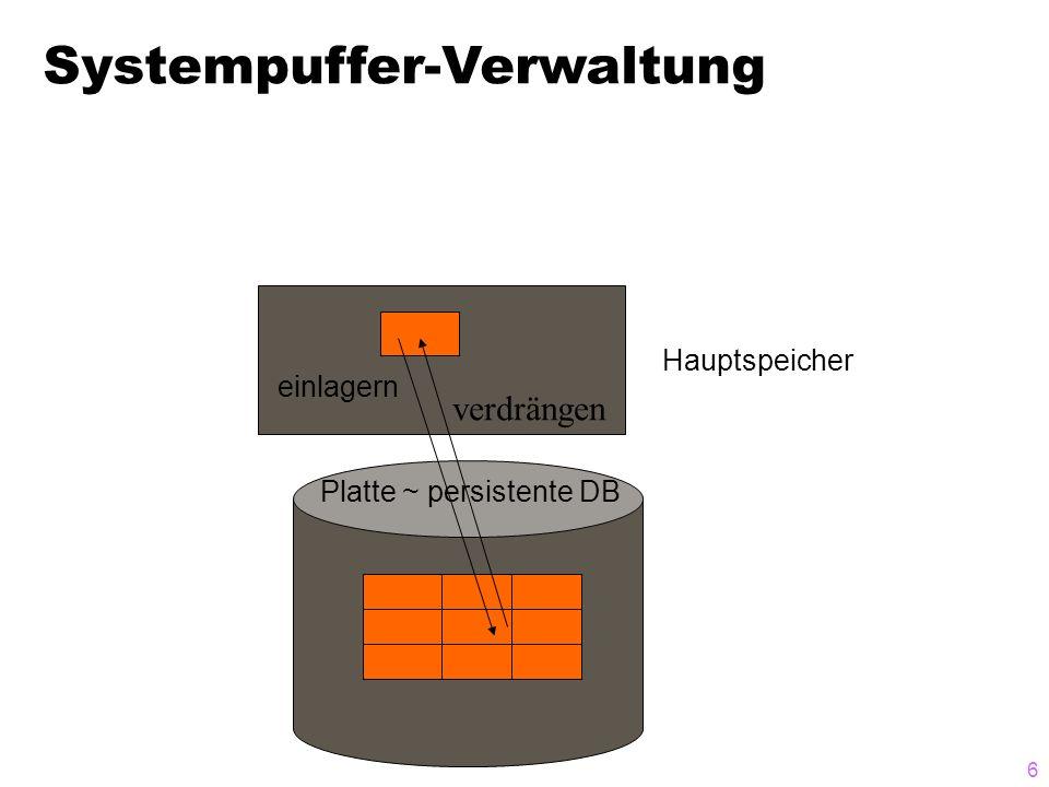 6 verdrängen Hauptspeicher einlagern Platte ~ persistente DB Systempuffer-Verwaltung