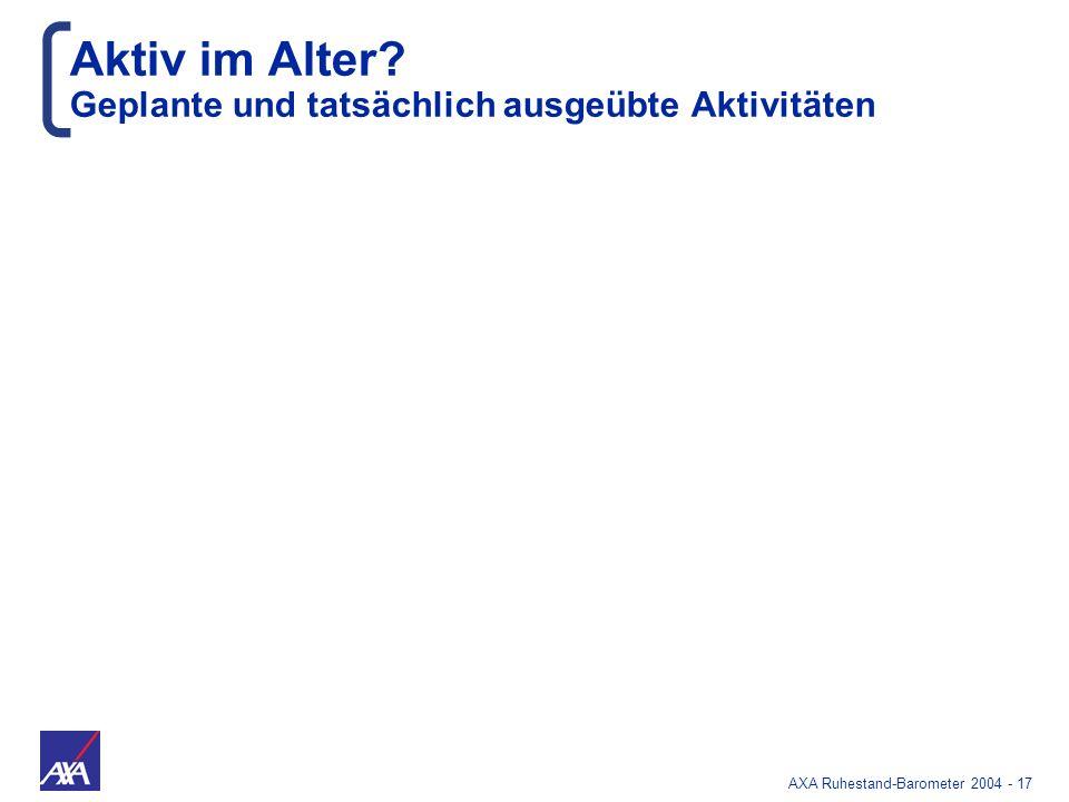 AXA Ruhestand-Barometer 2004 - 17 Aktiv im Alter? Geplante und tatsächlich ausgeübte Aktivitäten