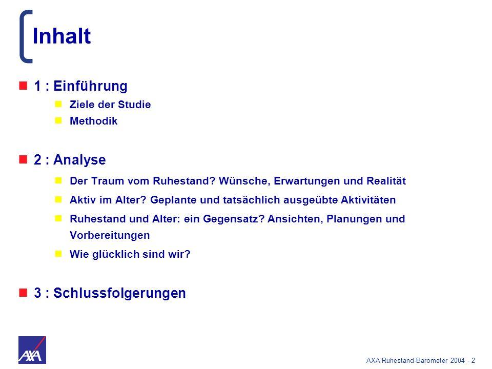 AXA Ruhestand-Barometer 2004 - 83 Das Bild vom deutschen Miesepeter ist falsch Auch international: wenig Abstand zu den Glücklichsten Erwerbstätige Ruheständler In % sehr und ziemlich glücklich
