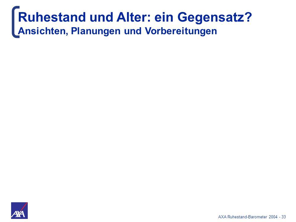 AXA Ruhestand-Barometer 2004 - 33 Ruhestand und Alter: ein Gegensatz? Ansichten, Planungen und Vorbereitungen