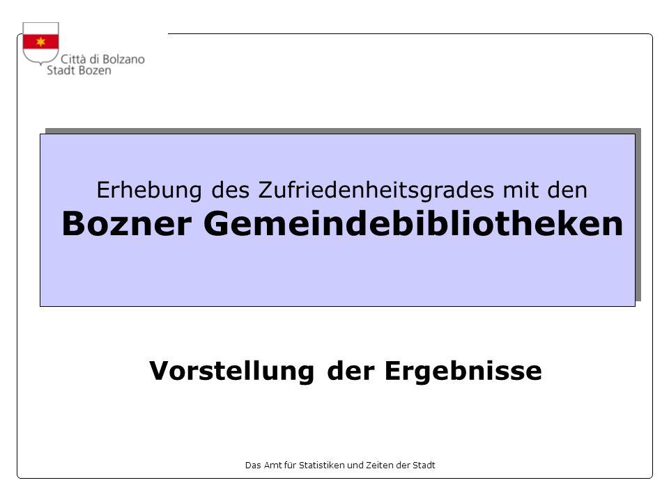 Das Amt für Statistiken und Zeiten der Stadt Erhebung des Zufriedenheitsgrades mit den Bozner Gemeindebibliotheken Vorstellung der Ergebnisse